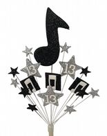 Music notes 13th birthday cake topper decoration in black and silver - free postage